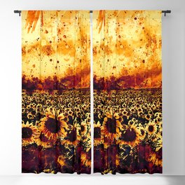 abstract sunflowers wsls Blackout Curtain