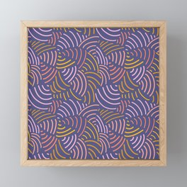 Modern abstract Curved lines pattern in pink, gold yellow, purple. Abstract contemporary art. Framed Mini Art Print