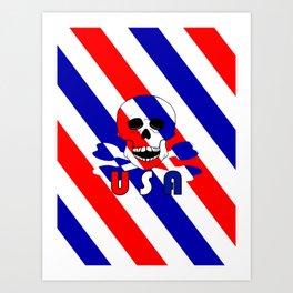 Skull And Bones USA Red White Blue Art Print
