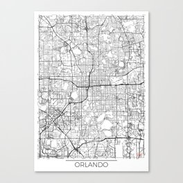 Orlando Map White Canvas Print