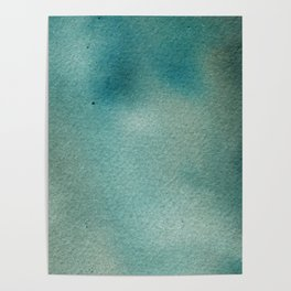 Hand painted blue teal abstract watercolor paint Poster