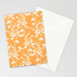 Floral Archive - Botanical Cut Out - Off White on Mango Orange Stationery Cards