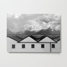 Geometric Architecture in Black and White Metal Print