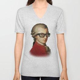 Hipster Mozart Unisex V-Neck