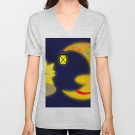 Good old moon .. Unisex V-Neck