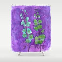 Hollyhock Foxglove Watercolor Indigo Turquoise Moss Shower Curtain