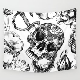 sugar skull B&W Wall Tapestry