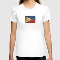 philippines T-shirts featuring Old and Worn Distressed Vintage Flag of Philippines by Jeff Bartels