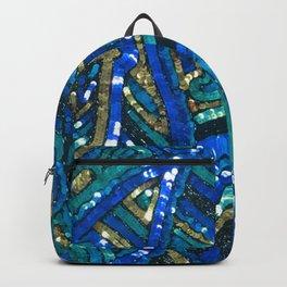 Teal Blue Gold Art Deco Sequin Backpack