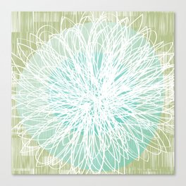 Doodle Flowers in Mint by Friztin Canvas Print