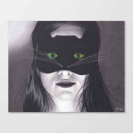 Realism Drawing of Girl in Cat Mask with Cat Eyes Canvas Print