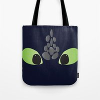 toothless Tote Bags featuring Toothless. by Taste of Ink Designs