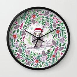 Owl Wreath Wall Clock