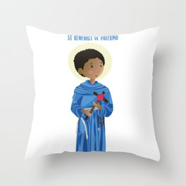 St.Benedict of Palermo Throw Pillow
