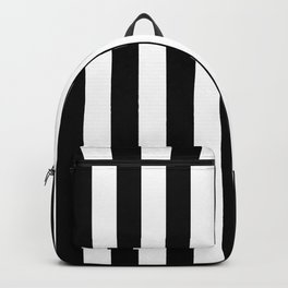 Solid Black and White Wide Vertical Cabana Tent Stripe Backpack