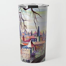 French Provenance Watercolor Artwork in Surrealism Style Travel Mug