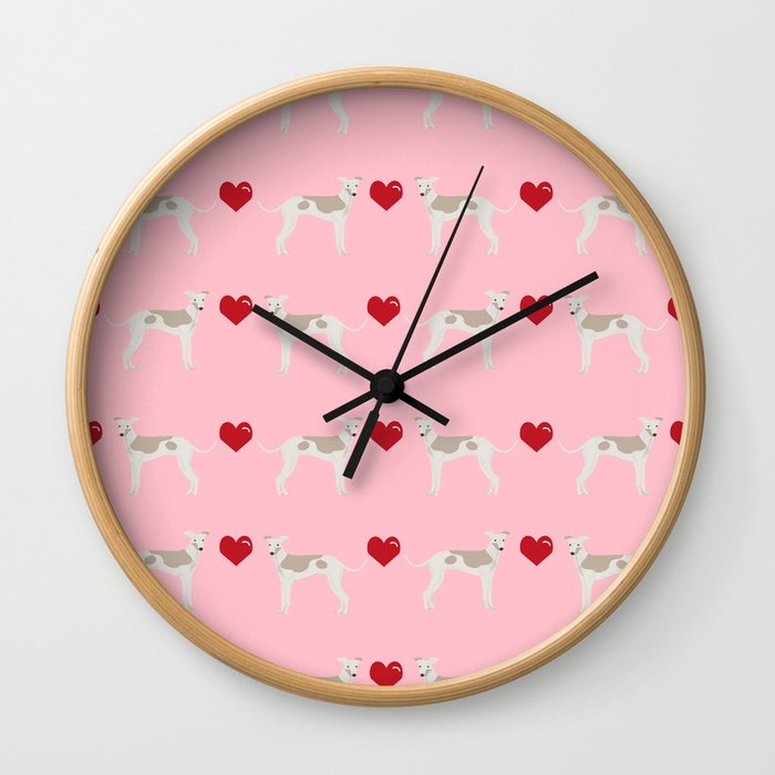 Italian greyhound love hearts valentine dog breed gifts Wall Clock