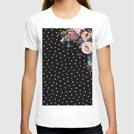 Boho Flowers and Polka Dots on Black T-shirt