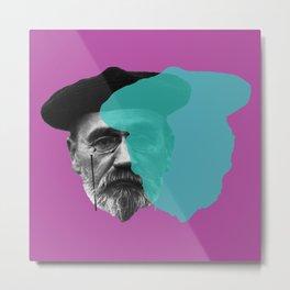 Emile Zola portrait purple blue Metal Print