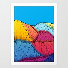 Colour outside the mountains Art Print