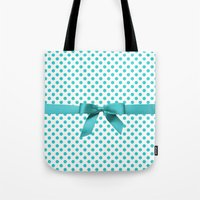 polkadot Tote Bags featuring Blue Tiffany Polkadot by albert Junior