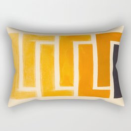 Yellow Ocher Mid Century Pattern Rectangular Pillow