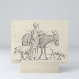 Pieter de Goeje - Vrouw met ezel, schaap en hond Mini Art Print