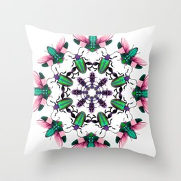 Bug Mandala 2 Throw Pillow