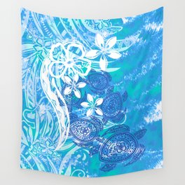 Samoan Tribal Turtle Ocean Spray Wall Tapestry