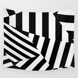 RADAR/ASDIC Black and White Graphic Dazzle Camouflage Wall Tapestry