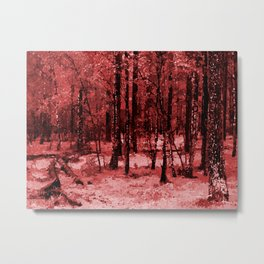Red enchanted forest, magical nature, beautiful view, calm place, rich colors wild nature painting Metal Print