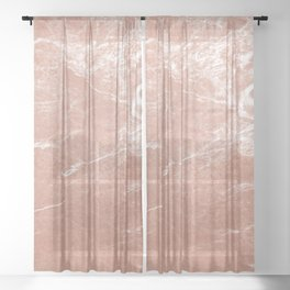 Elegant pink rose gold abstract marble Sheer Curtain
