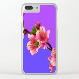 PINK-RED MODERN  CHERRY FLOWERS  purple-grey ART Clear iPhone Case