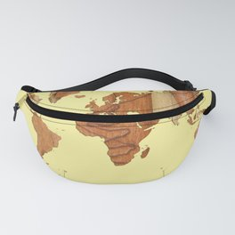 Wood bark - Yellow - Organic World Map Series Fanny Pack