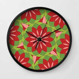 Red and green geometric ornament Wall Clock