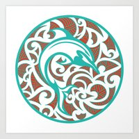 maori Art Prints featuring Maori Dolphin by freebornline