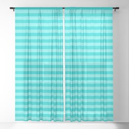 Striped Summer Pattern, Teal and Turquoise Sheer Curtain