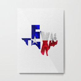 Texas Typographic Flag Map Art Metal Print