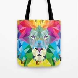 Geometric Rainbow Lion Tote Bag