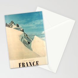 vintage poster France Skiing Mont Aiguille du Midi Cable Car 1960s Stationery Cards