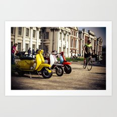 Vespa Scooters in Greenwich Art Print