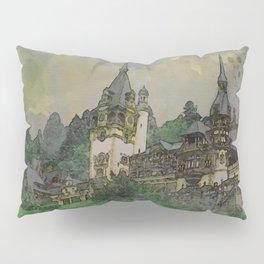 Peles Castle Romania Watercolor Pillow Sham