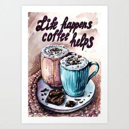 Coffee watercolor art Art Print
