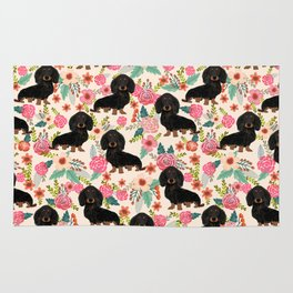 Doxie Florals - vintage doxie and florals gift gifts for dog lovers, dachshund decor, black and tan Rug