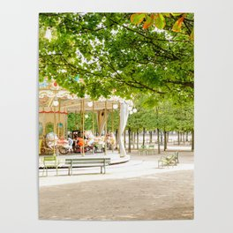 Charming Carousel in Paris France Poster
