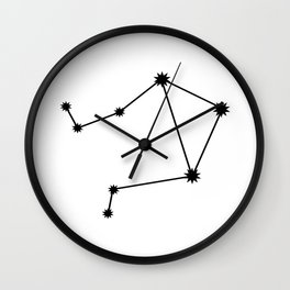 Libra Star Sign Black & White Wall Clock