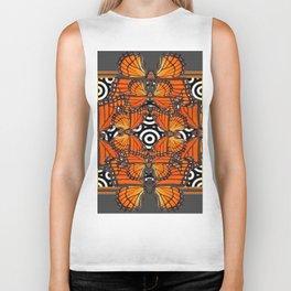 Monarch Butterflies Migration in orange & Grey Pattern Art Biker Tank