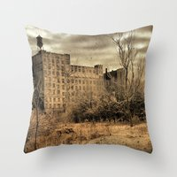 cityscape Throw Pillows featuring Cityscape by The Strange Days Of Gothicrow