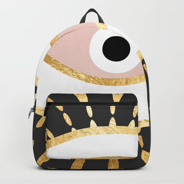 gold foil evil eye in blush Rucksack
