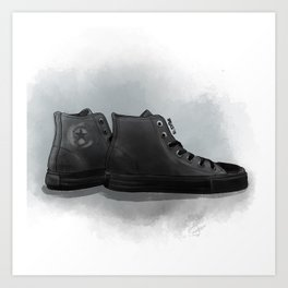black leather all-star converse Art Print